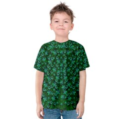 Leaf Forest And Blue Flowers In Peace Kids  Cotton Tee