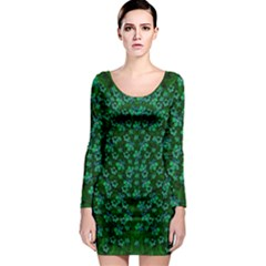 Leaf Forest And Blue Flowers In Peace Long Sleeve Bodycon Dress