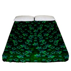 Leaf Forest And Blue Flowers In Peace Fitted Sheet (queen Size)