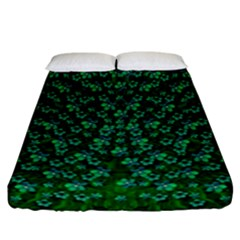 Leaf Forest And Blue Flowers In Peace Fitted Sheet (california King Size)