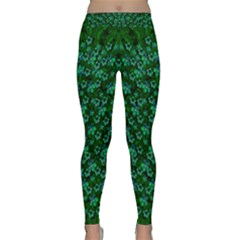 Leaf Forest And Blue Flowers In Peace Classic Yoga Leggings