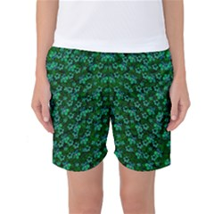 Leaf Forest And Blue Flowers In Peace Women s Basketball Shorts