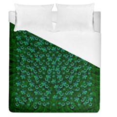 Leaf Forest And Blue Flowers In Peace Duvet Cover (queen Size)