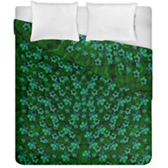 Leaf Forest And Blue Flowers In Peace Duvet Cover Double Side (california King Size)