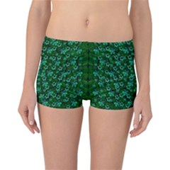 Leaf Forest And Blue Flowers In Peace Reversible Boyleg Bikini Bottoms