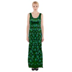 Leaf Forest And Blue Flowers In Peace Thigh Split Maxi Dress