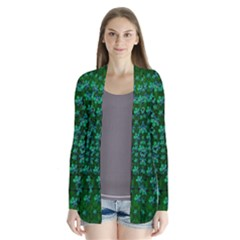 Leaf Forest And Blue Flowers In Peace Drape Collar Cardigan