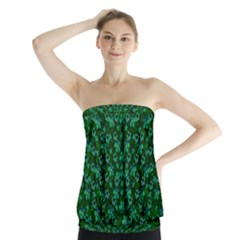Leaf Forest And Blue Flowers In Peace Strapless Top