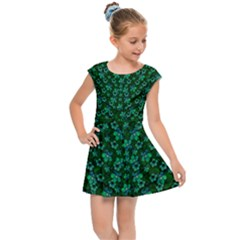 Leaf Forest And Blue Flowers In Peace Kids  Cap Sleeve Dress