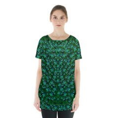 Leaf Forest And Blue Flowers In Peace Skirt Hem Sports Top