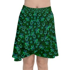 Leaf Forest And Blue Flowers In Peace Chiffon Wrap Front Skirt