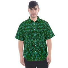 Leaf Forest And Blue Flowers In Peace Men s Short Sleeve Shirt