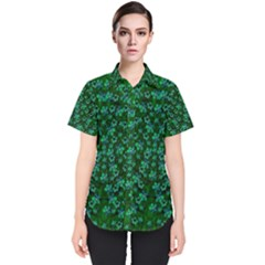 Leaf Forest And Blue Flowers In Peace Women s Short Sleeve Shirt