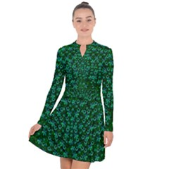 Leaf Forest And Blue Flowers In Peace Long Sleeve Panel Dress