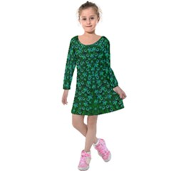 Leaf Forest And Blue Flowers In Peace Kids  Long Sleeve Velvet Dress