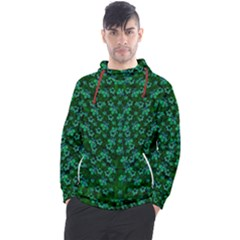 Leaf Forest And Blue Flowers In Peace Men s Pullover Hoodie