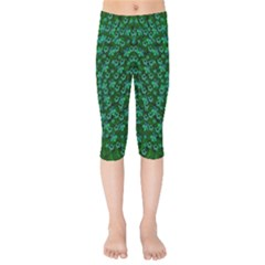 Leaf Forest And Blue Flowers In Peace Kids  Capri Leggings