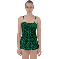 Leaf Forest And Blue Flowers In Peace Babydoll Tankini Set