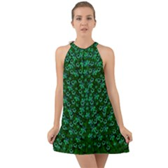 Leaf Forest And Blue Flowers In Peace Halter Tie Back Chiffon Dress
