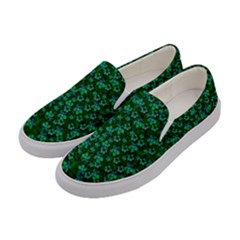 Leaf Forest And Blue Flowers In Peace Women s Canvas Slip Ons by pepitasart