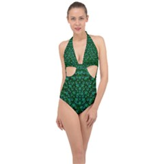 Leaf Forest And Blue Flowers In Peace Halter Front Plunge Swimsuit