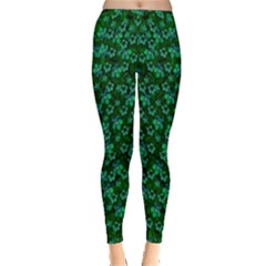 Leaf Forest And Blue Flowers In Peace Inside Out Leggings