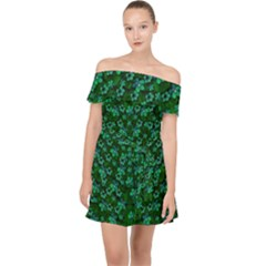 Leaf Forest And Blue Flowers In Peace Off Shoulder Chiffon Dress