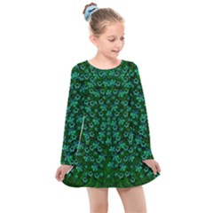 Leaf Forest And Blue Flowers In Peace Kids  Long Sleeve Dress