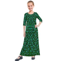 Leaf Forest And Blue Flowers In Peace Kids  Quarter Sleeve Maxi Dress