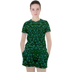 Leaf Forest And Blue Flowers In Peace Women s Tee And Shorts Set