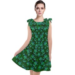 Leaf Forest And Blue Flowers In Peace Tie Up Tunic Dress