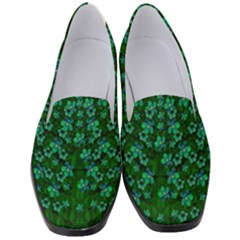 Leaf Forest And Blue Flowers In Peace Women s Classic Loafer Heels