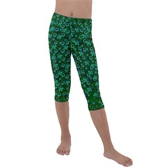 Leaf Forest And Blue Flowers In Peace Kids  Lightweight Velour Capri Leggings