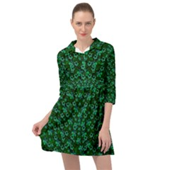 Leaf Forest And Blue Flowers In Peace Mini Skater Shirt Dress