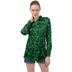 Leaf Forest And Blue Flowers In Peace Long Sleeve Satin Shirt