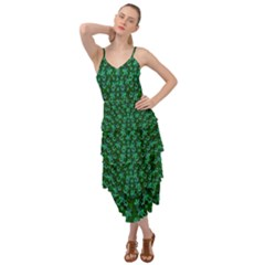 Leaf Forest And Blue Flowers In Peace Layered Bottom Dress