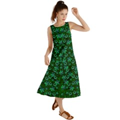 Leaf Forest And Blue Flowers In Peace Summer Maxi Dress