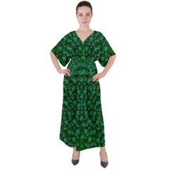 Leaf Forest And Blue Flowers In Peace V-neck Boho Style Maxi Dress