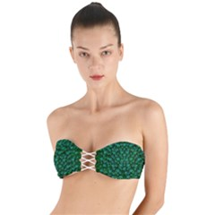 Leaf Forest And Blue Flowers In Peace Twist Bandeau Bikini Top