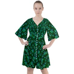 Leaf Forest And Blue Flowers In Peace Boho Button Up Dress