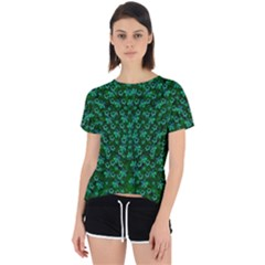 Leaf Forest And Blue Flowers In Peace Open Back Sport Tee