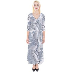Faded Blue Grunge Quarter Sleeve Wrap Maxi Dress by SpinnyChairDesigns