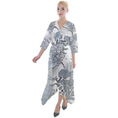 Faded Blue Grunge Quarter Sleeve Wrap Front Maxi Dress by SpinnyChairDesigns