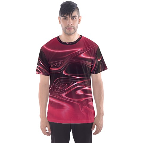 Crimson Red Black Swirl Men s Sport Mesh Tee by SpinnyChairDesigns