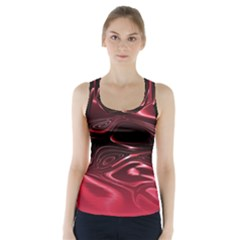 Crimson Red Black Swirl Racer Back Sports Top by SpinnyChairDesigns