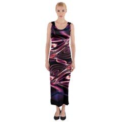 Abstract Art Swirls Fitted Maxi Dress by SpinnyChairDesigns