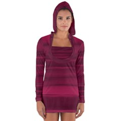 Dark Rose Pink Ombre  Long Sleeve Hooded T-shirt by SpinnyChairDesigns