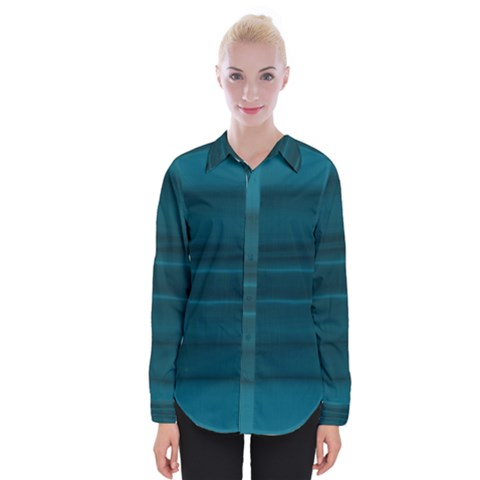 Teal Blue Ombre Womens Long Sleeve Shirt by SpinnyChairDesigns
