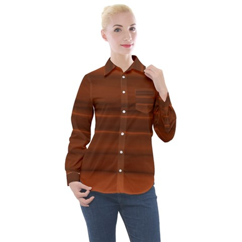 Cinnamon And Rust Ombre Women s Long Sleeve Pocket Shirt by SpinnyChairDesigns