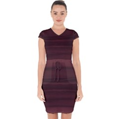 Burgundy Wine Ombre Capsleeve Drawstring Dress